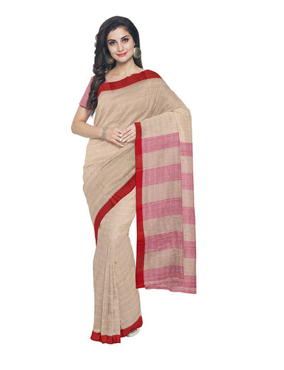 Tan Handloom Bengal Cotton Saree