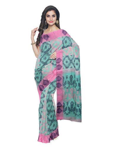 Handloom Sea Green Cotton Jamdani Saree