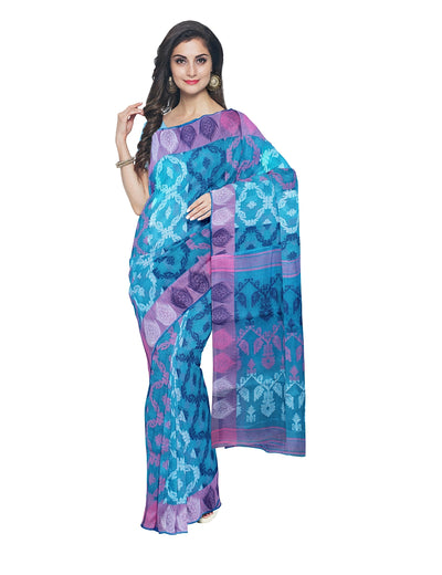 Handloom Orange Blue Cotton Jamdani Saree