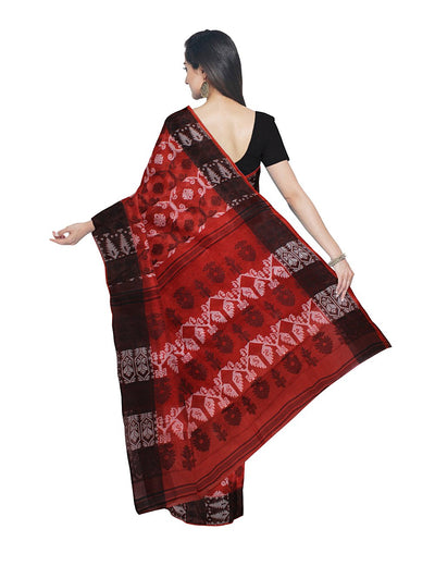 Handloom Bengal Rust Cotton Jamdani Saree