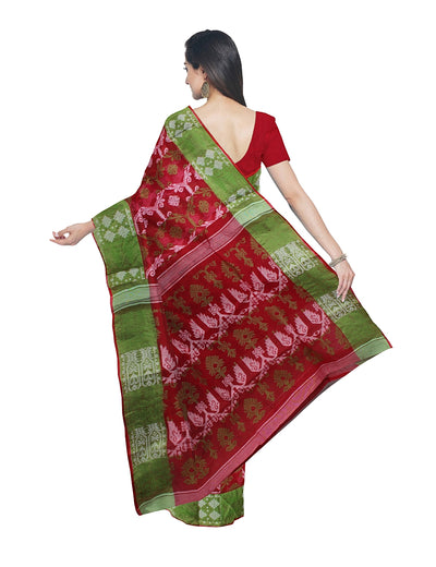 Handloom Red Bengal Jamdani Cotton Saree