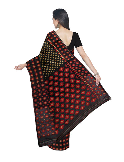 Black and Red Handloom Bengal Jamdani Saree