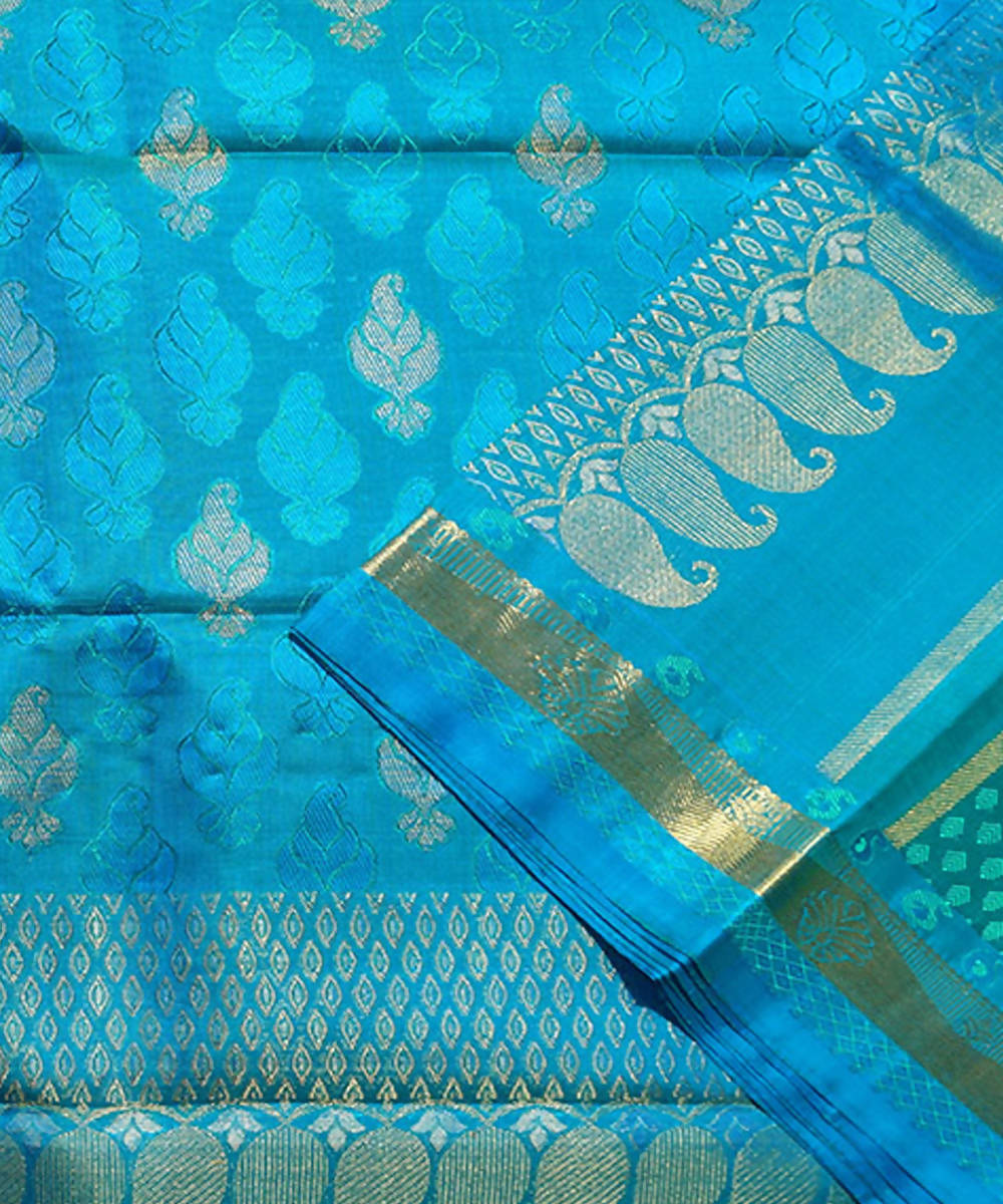 Blue Green Handloom Kancheepuram Silk Saree