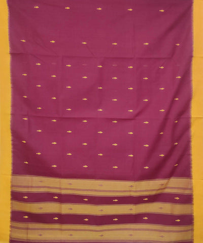 Maroon Handwoven Kuppadam cotton saree