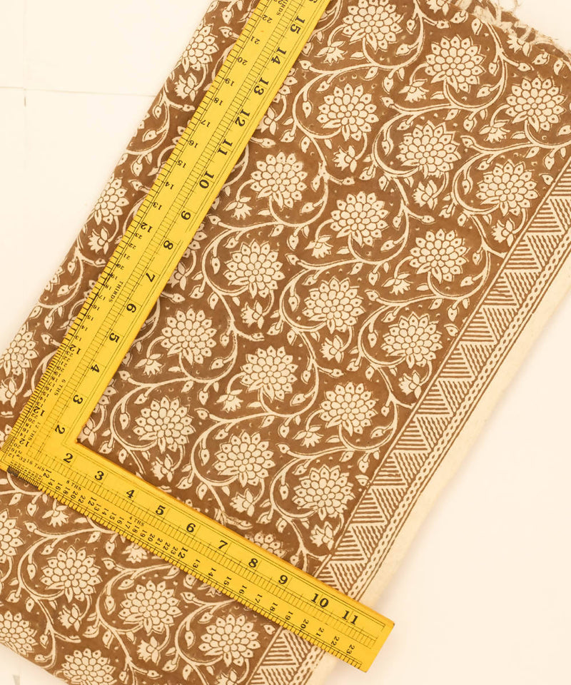 Bagh Hand Printed Cotton Cream Brown Fabric