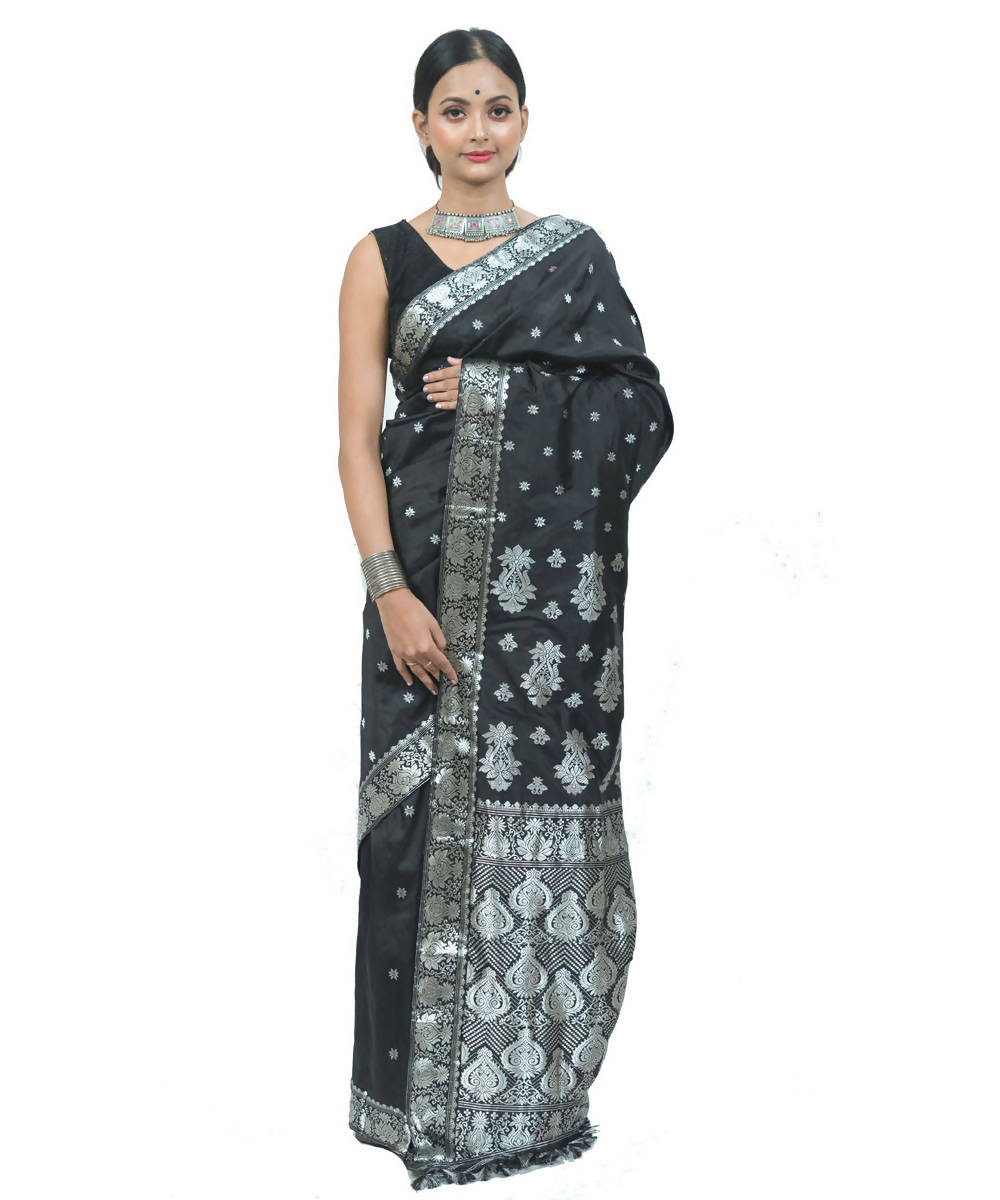 Black and silver grey handwoven assam silk saree