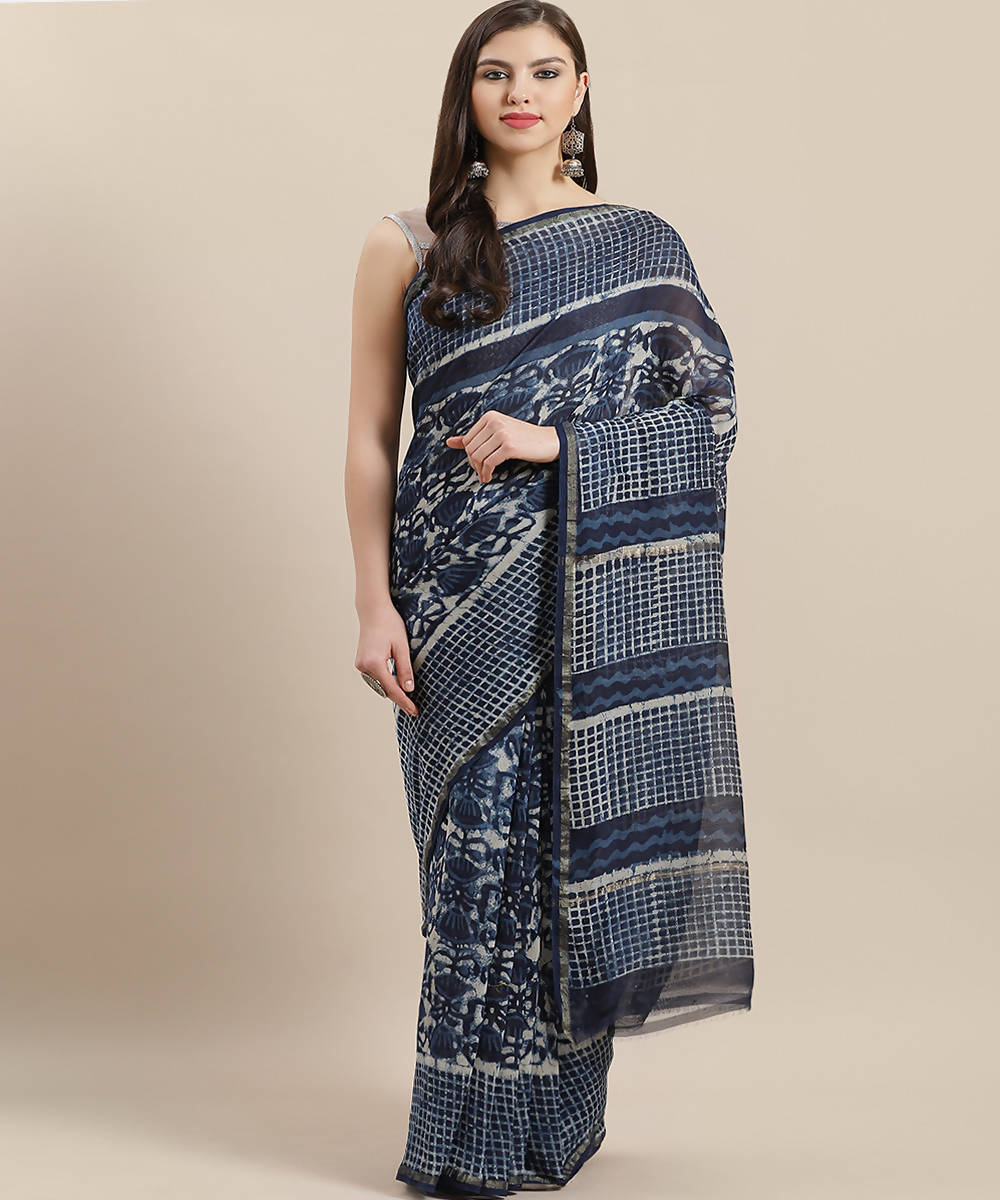 Navy White Handblock Printed Chanderi Saree