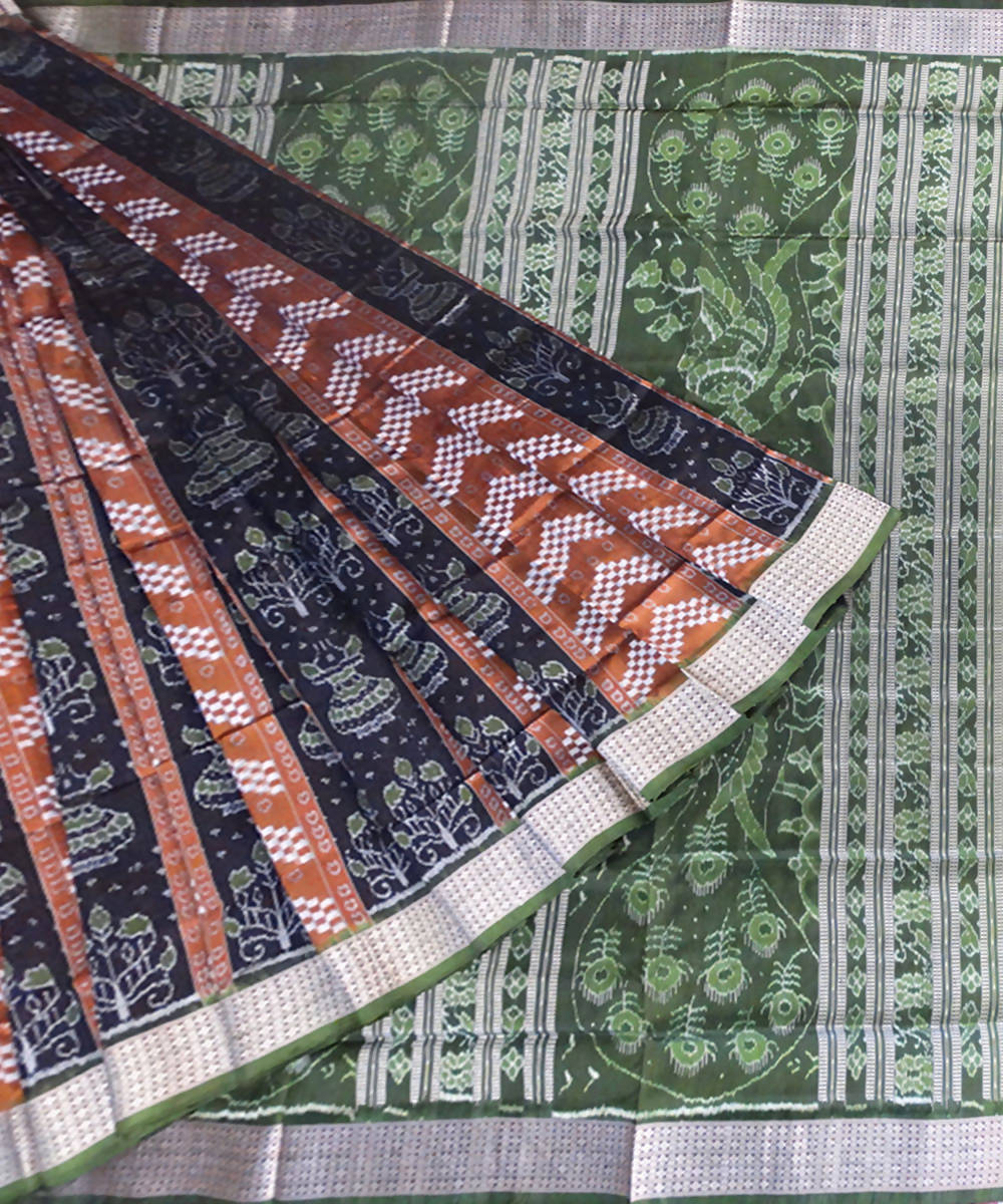 Black Brown handloom Sambalpuri silk Saree