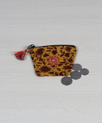 Yellow Brown Lambani Embroidery Coin Pouch