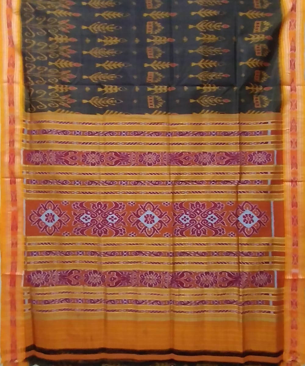 Dark grey yellow handwoven silk khandua saree