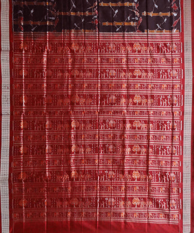 Coffee Sambalpuri Ikkat Handloom silk Saree