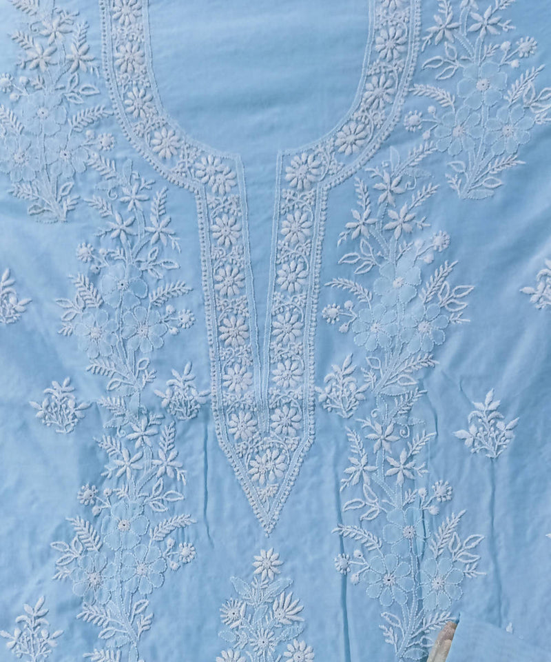 Light Blue chanderi chikankari hand embroidery kurta material with dupatta