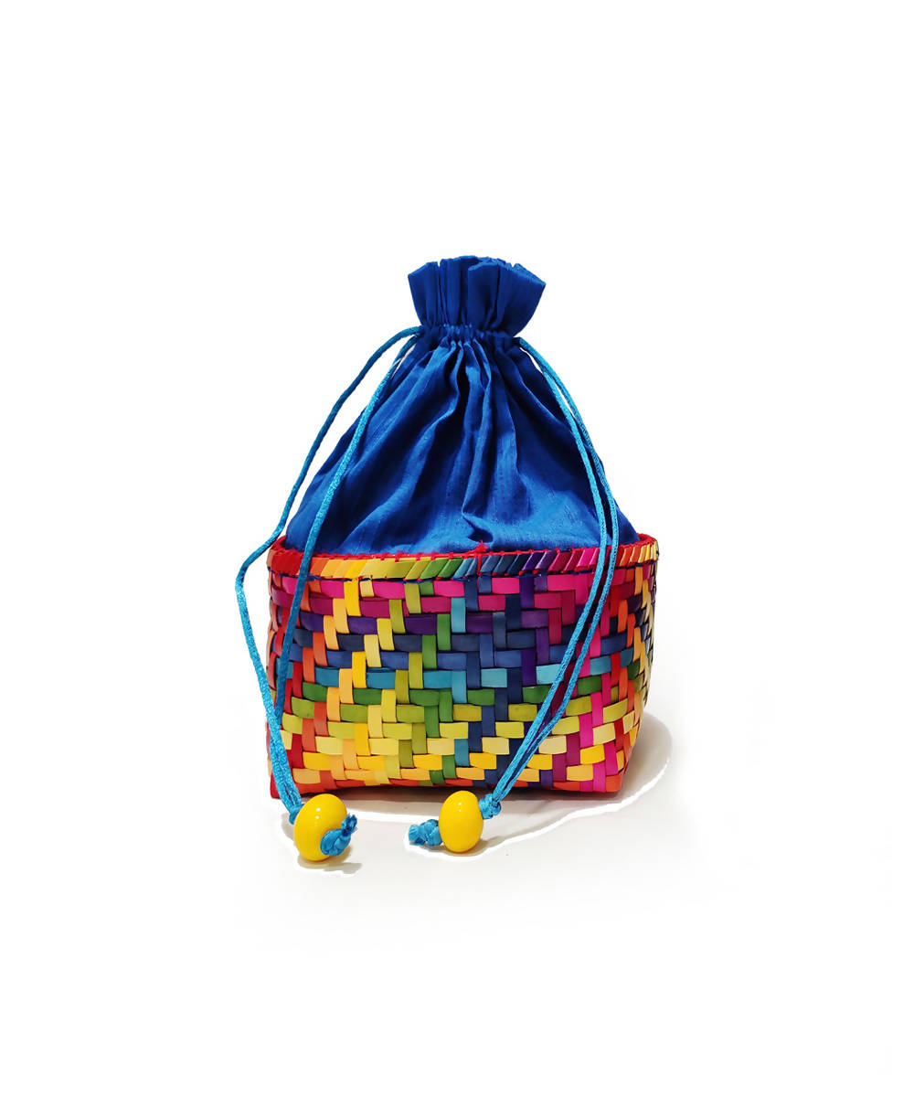 Royal blue handmade palm leaf basket with pouch