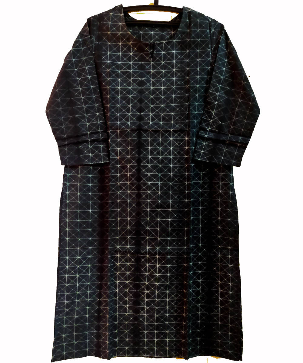 Shibori Hand Printed Cotton Dark Charcoal Grey Kurta