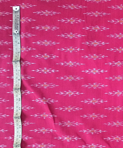 Reddish Pink Handloom Odisha Ikat Cotton Fabric