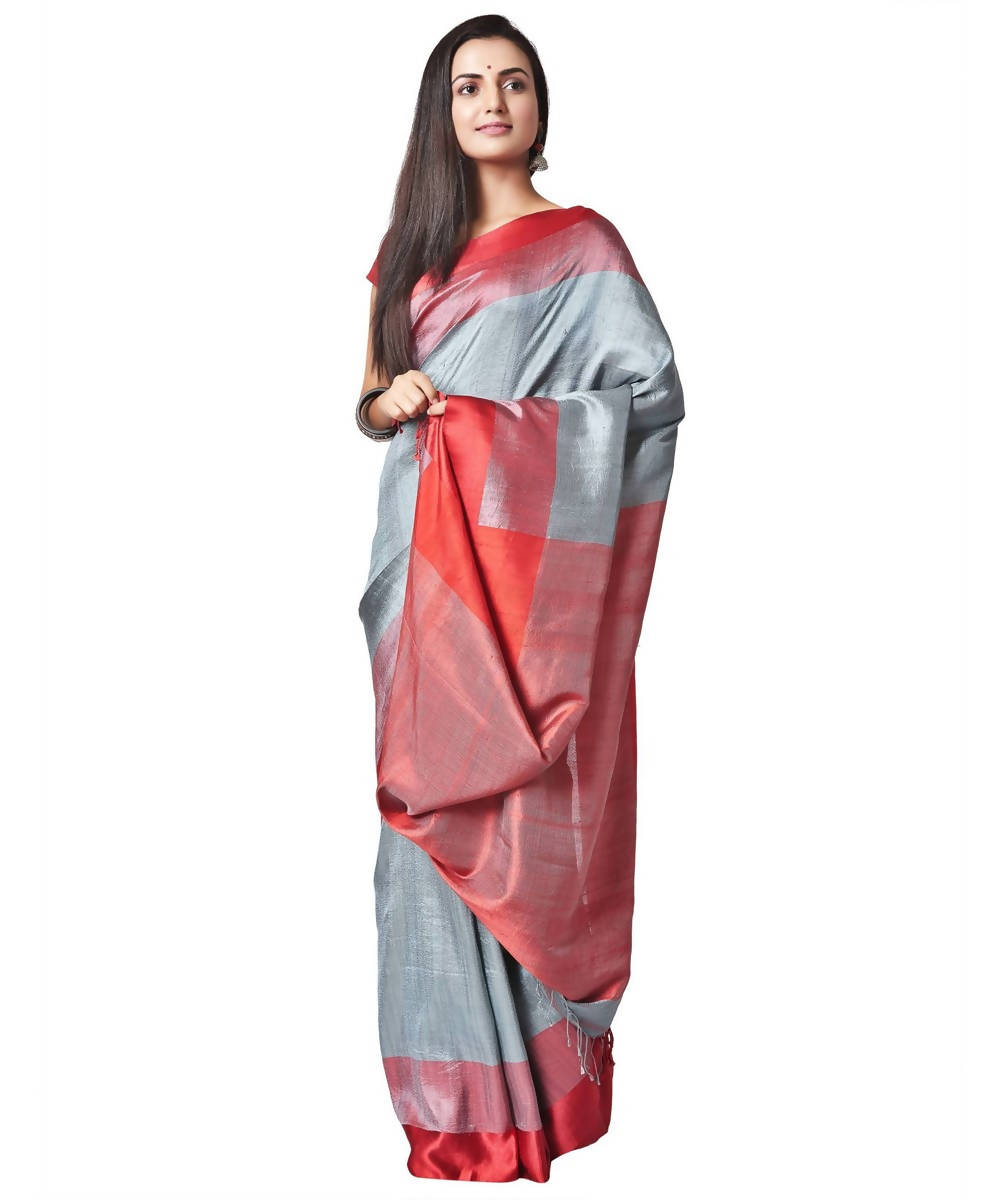 Biswa bangla handwoven steel grey silk saree