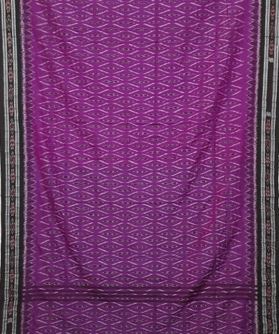 Magenta and Black Nuapatna Handwoven Cotton Saree