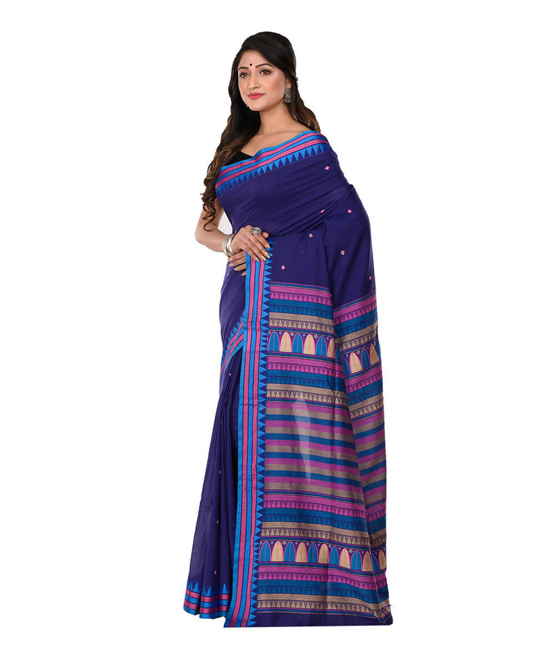 Navy Handloom Bengal Tangail Cotton Saree