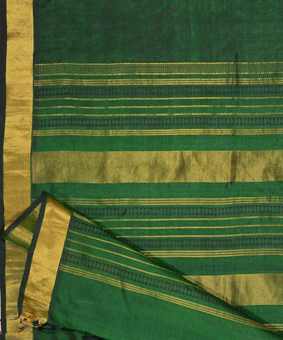 Bottle green kanjivaram silk cotton saree