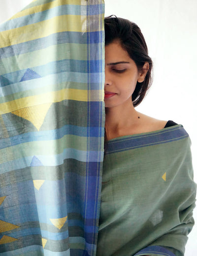 Bavanbuti Handloom Mint Blue Cotton Saree