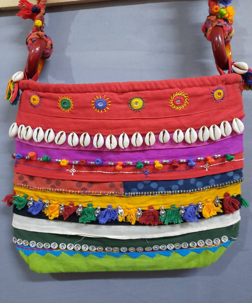 multicolour lambani embroidery work cotton hand bag