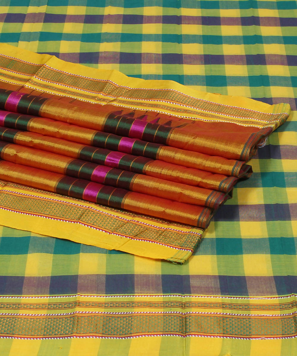Green Yellow Checks Handloom Ilkal Saree