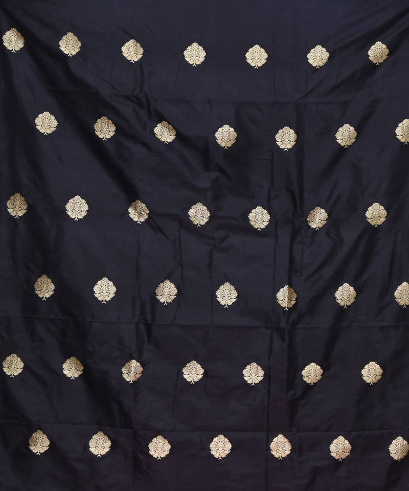 Black Banarasi Handloom Silk Fabric