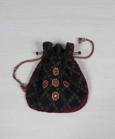 Grey Black Lambani Embroidery Potli