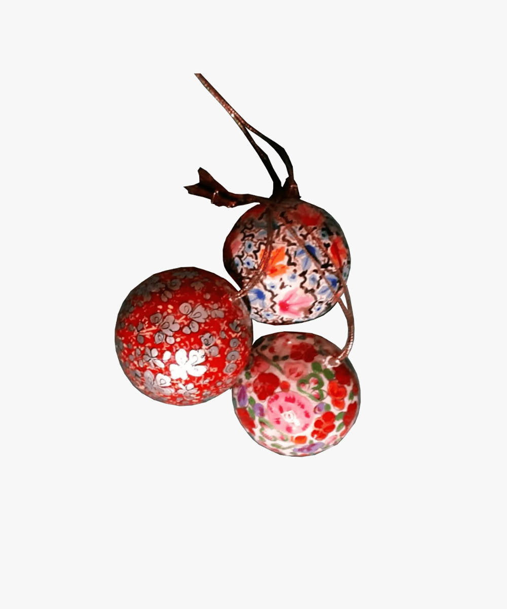 Assorted balls (small) hand painted soft wood decors (set of 2)