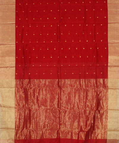 Handloom Red Chanderi Cotton Silk Saree
