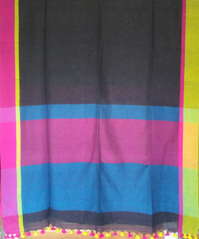Bengal Brown and Multicolor Pallu Handwoven Cotton Saree