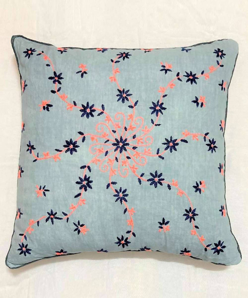 Black and pink Hand Embroidery on blue grey Cushion Cover