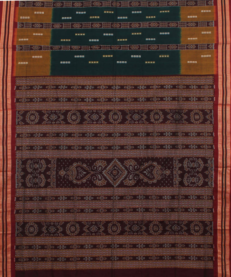 Bomkai Green Brown Handloom Cotton Saree