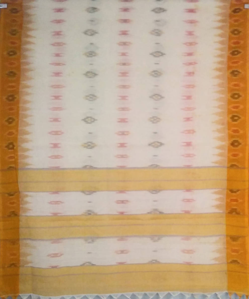 White and brown siddipet tie and dye handwoven cotton saree