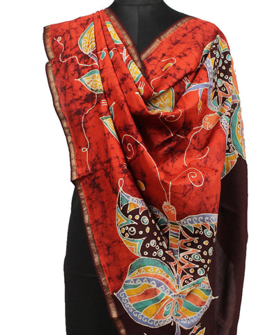 Dark Orange Batik Print Maheshwari Dupatta