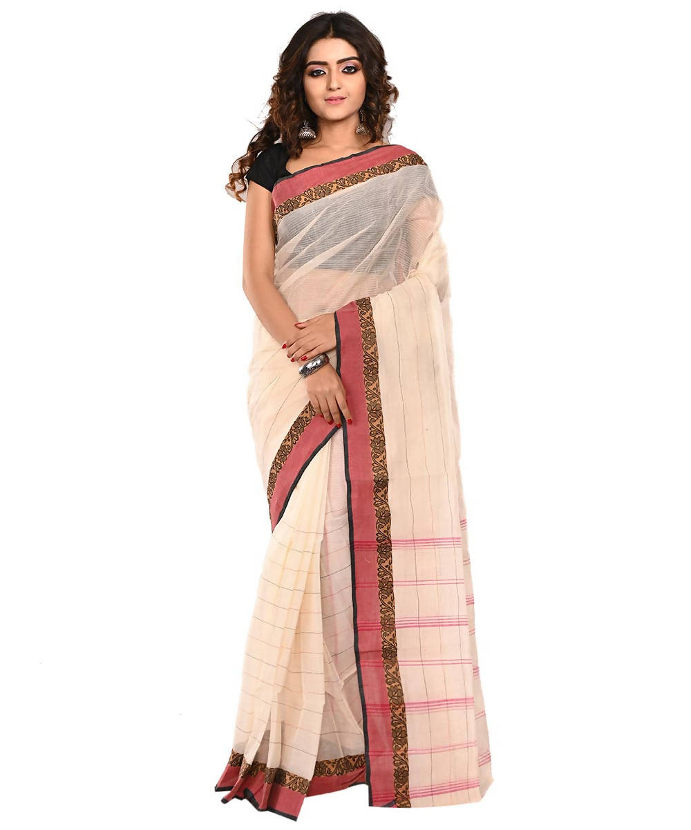 Off White Red Bengal Handloom Cotton Saree