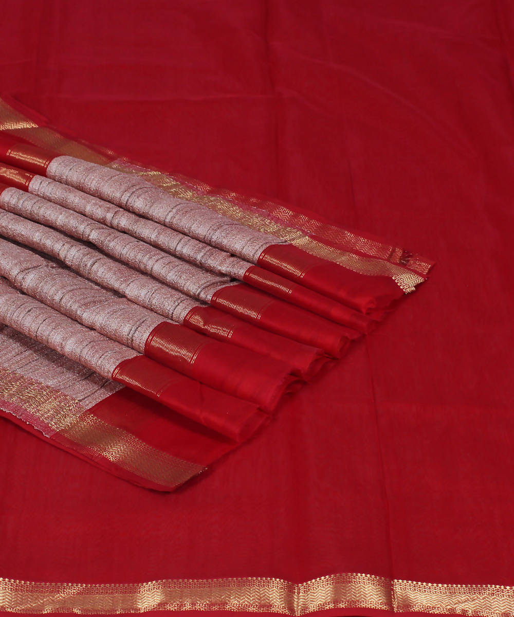 Handloom Red Maheshwari Cotton Silk Saree