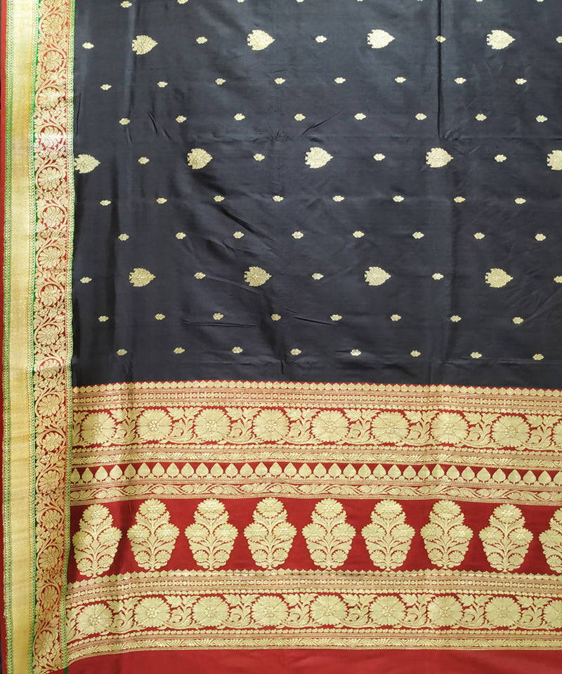 Black and red handloom katan silk banarasi saree