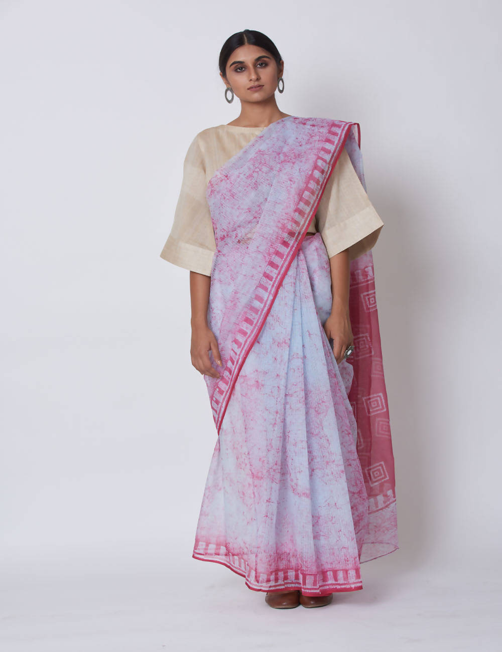 Pink batik Block Printed Kota Cotton Saree