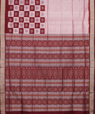 Handwoven Cream Maroon Bomkai Silk Saree