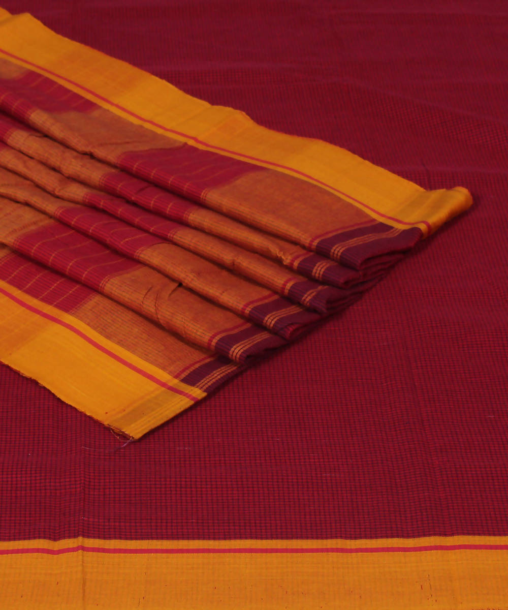 Red Patteda Anchu Handloom Cotton Saree