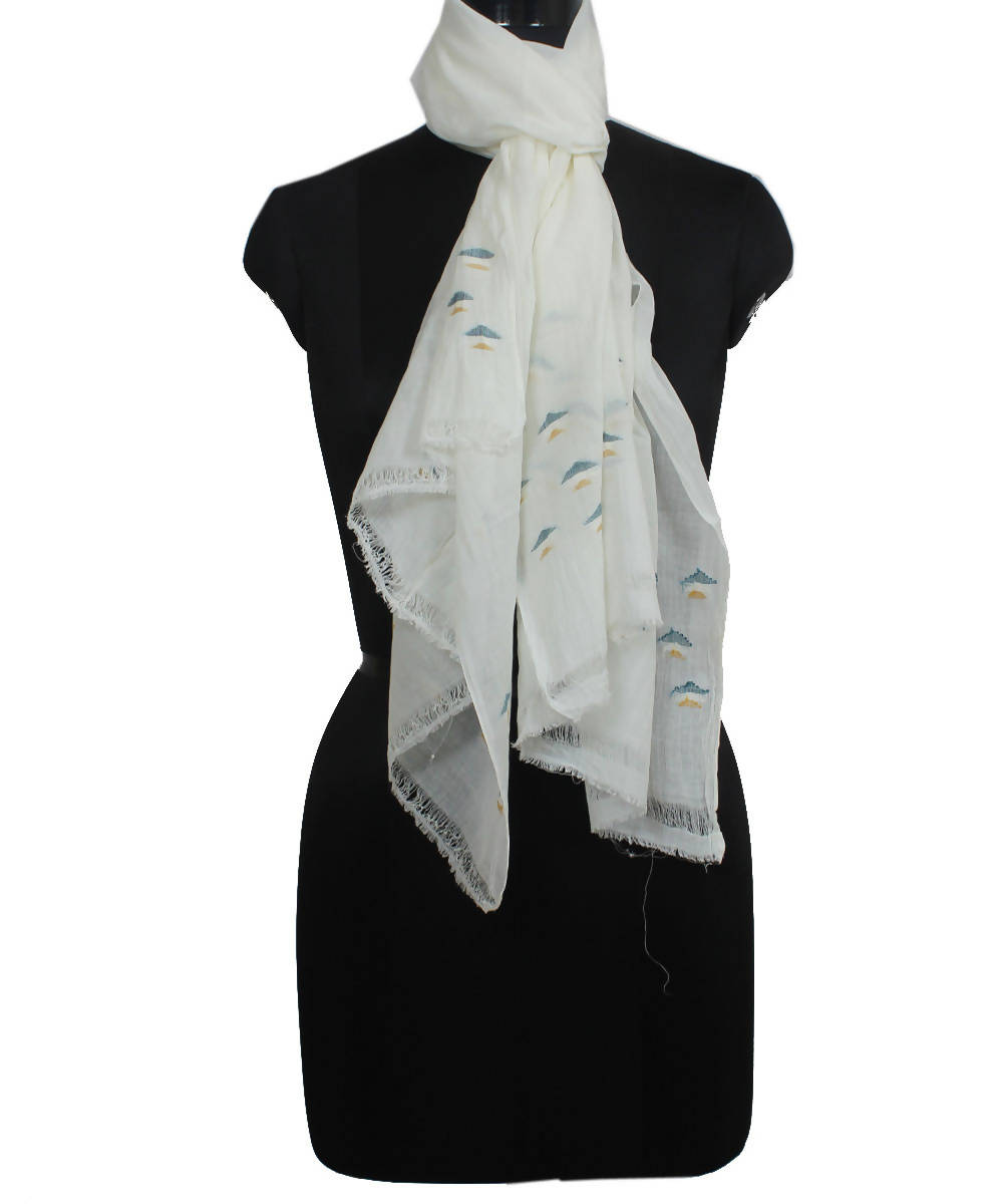 Bengal White Cotton Handwoven Jamdani Stole