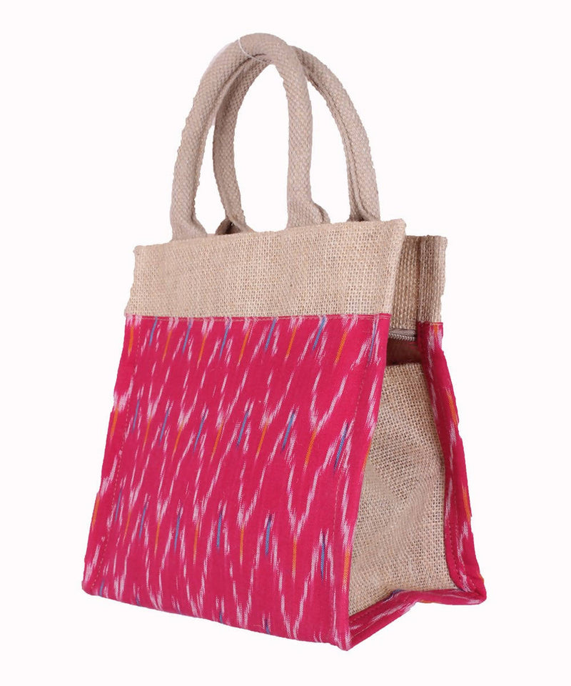 Handcrafted Jute Bag In Red Fabric