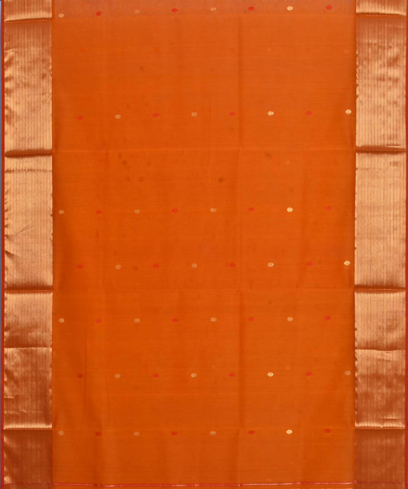 Maheshwari Handloom Fire Orange Sico Saree