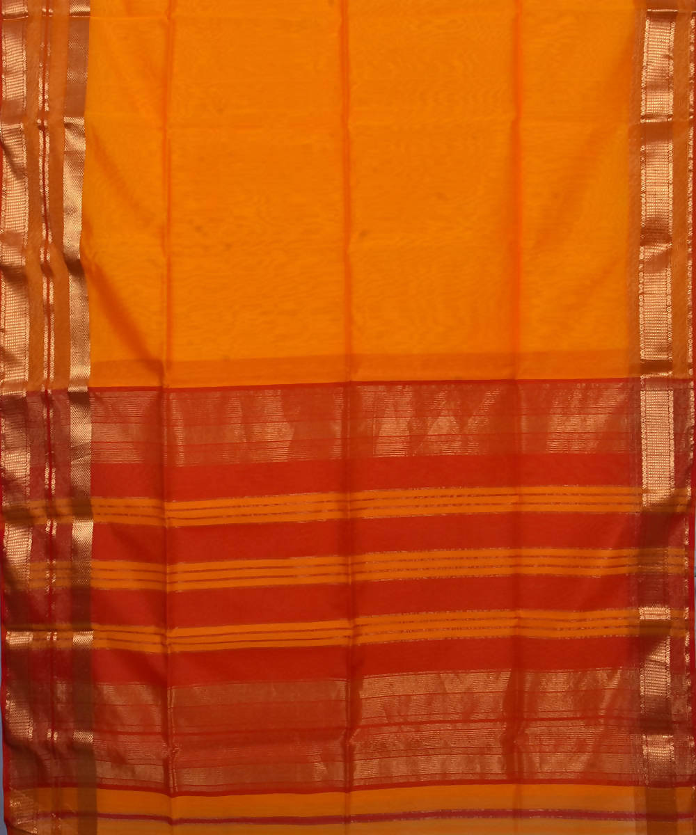Handloom Maheshwari Orange Cotton Silk Saree