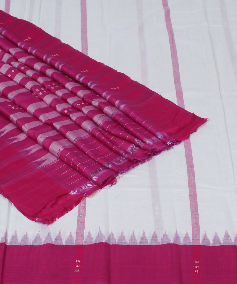 Handloom White Pink Odisha Cotton Saree
