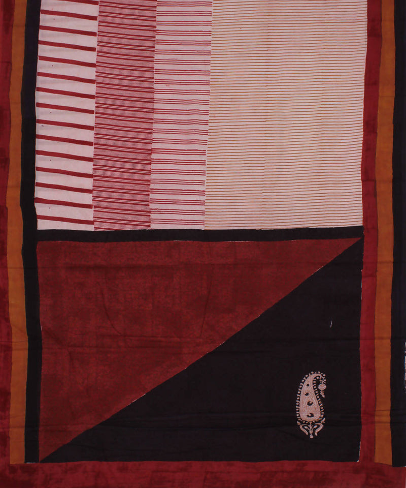 Handloom Cream Red Bagh Print Cotton Saree