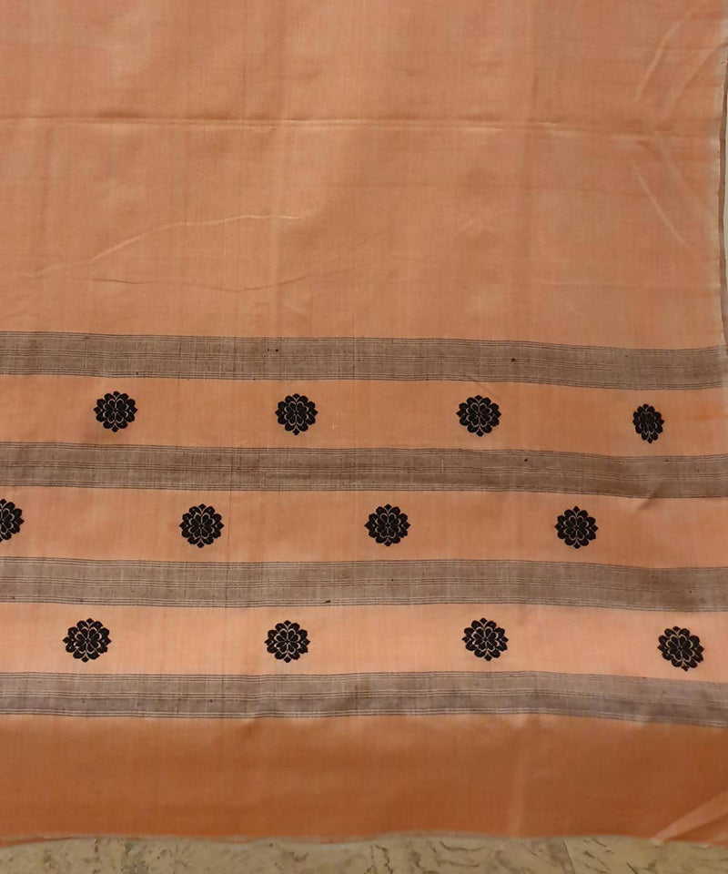 Light orange assam handwoven cotton kurta piece