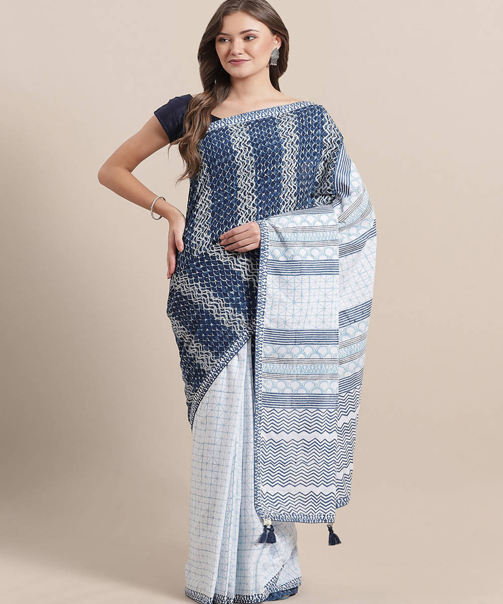 Navy White Hand Block Printed Cotton Saree