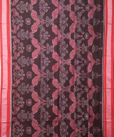 Deep Coffee Maroon Sambalpuri Cotton Handloom Ikat Saree